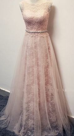 Pearl Pink Prom Gown,Elegant Evening Dress