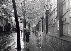 Vrouw loopt met paraplu over de Kruiskade te Rotterdam, Nederland 1939.