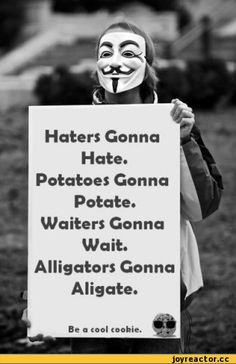 Haters Gonna Hate. Potatoes Gonna Potate. Waiters Gonna Wait. Alligators Gonna Aligate. Be a cool cookie.,anon,haters gonna hate,art