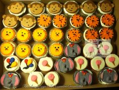 Circus themed cupcakes (Lions, Tigers, Monkeys, Balloons, Elephants and Cotton Candy)