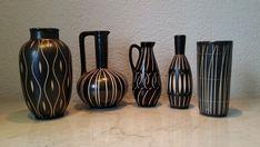 3 Vasen 2 Krüge Piesche und Reif Sgraffito Muster 50er-60er Jahre schwarz weiß  | eBay