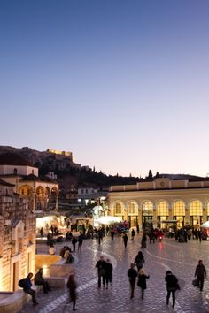 Monstiraki square at night in Athens, Greece.  Three wonderful months were spent working in a Hostel in Athens when I was 24. I fell in love.