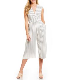d67cc54b964e Maggy London Stripe Crepe Wrap Crop Jumpsuit