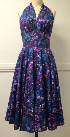 Trashy Diva Womens Cool Watercolor Purple Halterneck Dottie Dress UK 6/US 2  #TrashyDiva #50sRockabilly #Party