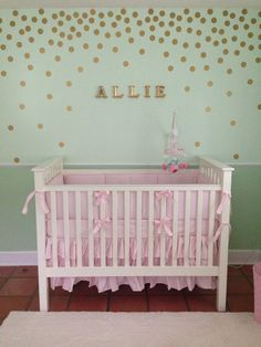 Mint pink and gold nursery