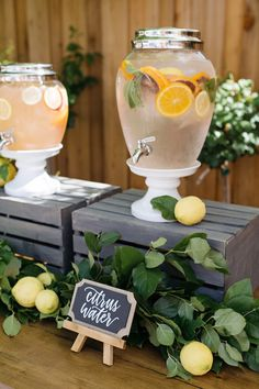 Beverage dispenser from a Rustic Lemon Themed Baby Shower on Kara's Party Ideas | KarasPartyIdeas.com (20)