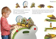"""Musicon (Student Winner) Musicon is a creative, interactive """"music making educational play device,"""" designed to promote development and exploration, both physical and artistic, for children of ages Social Design, Presentation Layout, Presentation Boards, Children's Medical, Wooden Music Box, Red Dot Design, Red Dots, Consumer Products, Design Awards"""
