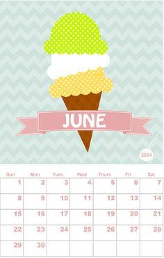 Free printable calendar, June, by With Envy - http://www.etsydigitaldesigners.com/2014-free-printable-calendar.php