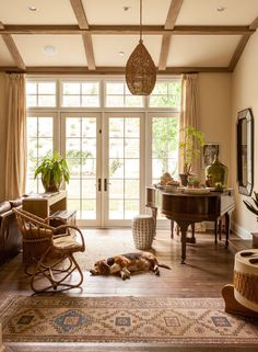 Wendy Bellissimo's Sophisticated-Meets-Bohemian Home: Benny the basset hound snoozes in the musical-instrument side of the living room.