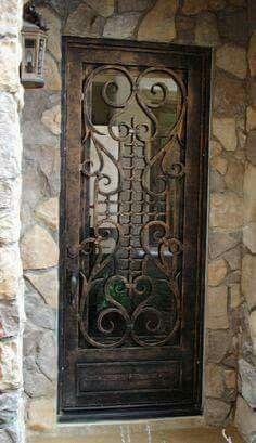 Door with iron work design. Cool Doors, Unique Doors, Entrance Doors, Doorway, Doors Galore, Porches, When One Door Closes, Knobs And Knockers, Door Gate