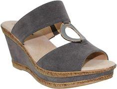 b9374d2da07 Cushion Walk Ladies Leather Lined Peep Toe Mid Wedge Heel Slip On Mules Sandals  Size 3