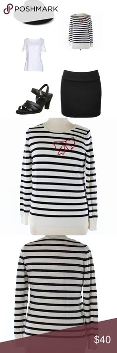 "gap striped sweater with red bow Worn once in excellent condition no flaws washed and line dried. Description Crew neckline Beige Striped print Measurements 40"" Chest, 25"" Length Materials 55% Nylon, 30% Wool, 15% Acrylic GAP Sweaters Crew & Scoop Necks"