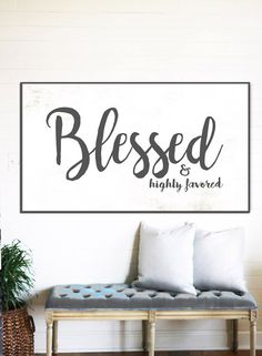 Blessed Sign Rustic Gift For Her Home Decor Farmhouse Wall Fixer Upper Signs Scripture Art Canvas