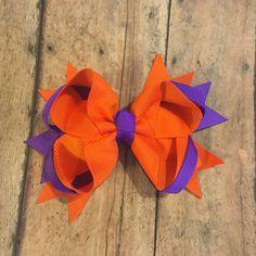 Clemson hairbow, football hair bow - Hairbow , hair clip bow, girls hair bow…