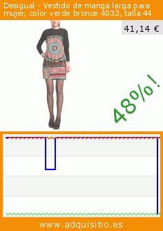 Desigual - Vestido de manga larga para mujer, color verde bronce 4033, talla 44 (Ropa). Baja 48%! Precio actual 41,14 €, el precio anterior fue de 79,00 €. https://www.adquisitio.es/desigual/vestido-manga-larga-mujer-236