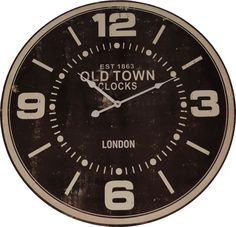"""Oversized 23"""" Wood 'Old Town' Wall Clock"""