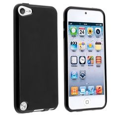 nice Invero® TPU Gel Back Case Cover for Apple Ipod Touch 5 (5th Generation) Includes Screen Protector, Micro Fibre Cleaning Cloth & Application Card (Black)