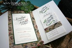 Rustic, yet elegant floral wedding invitations by Inspirations by Amie Lee