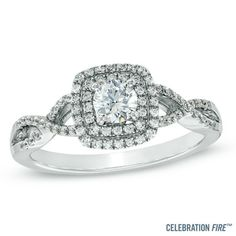 Celebration Fire™ 5/8 CT. T.W. Diamond Engagement Ring in 14K White Gold (H-I/SI1-SI2)