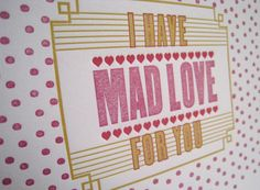 fun valentines letterpress greeting