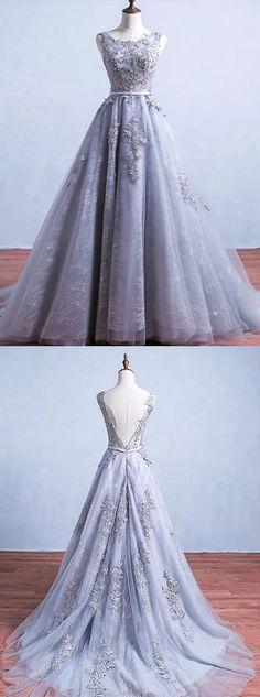A-line Scoop Floor-length Sleeveless Tulle Prom Dress/Evening Dress