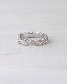 14K White Gold Scroll Detailing Diamond Stacking Band Eternity Anniversary Band
