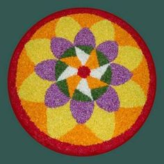 Rangoli Designs Flower, Rangoli Designs Diwali, Rangoli Designs Images, Flower Rangoli, Flower Petals, Flower Art, Flowers, Onam Pookalam Design, Flower Decorations