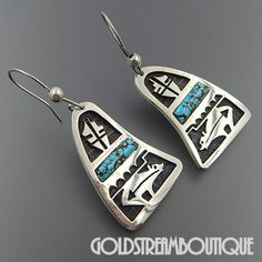 NATIVE AMERICAN HOPI STERLING SILVER OVERLAY LIGHTNING BEAR TURQUOISE HOOK DANGLE EARRINGS