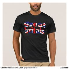 """Great Britain Union Jack T-Shirt Great Britain and the Union Jack have been combined in this t-shirt for him, so that the letters of """"Great Britain"""" are in the red, black and white formation of the Union Jack flag. It looks great on black or any dark colour shirt - you choose. Wear it with Union Jack shoes also from LyricalSixties!"""