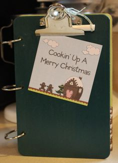 Keep all of your favorite Christmas recipes together in this fun, unique 3 ring binder, with a green chalk board, clipboard as the front cover. At Our Mom's Touch at Etsy #ourmomstouch