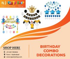 Get wonderful Birthday Decoration Items at the click of a button. We are the leading party decorators in Pune. Late Birthday, Boy First Birthday, Birthday Decoration Items, Photo Booth Party Props, Birthday Supplies, Party Shop, Party Items, Pune, Decorative Items