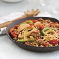 Spaghetti With Sausage and Peppers Quick & Easy~~Southern Living
