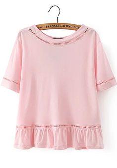 Peplum Hem Hollow Pink T-shirt