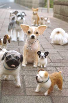 :-) NF dogs   Love love love love! One day I must try my needle felting. Got the stuff, but haven't tried yet. I know I will get addicted! #felteddog