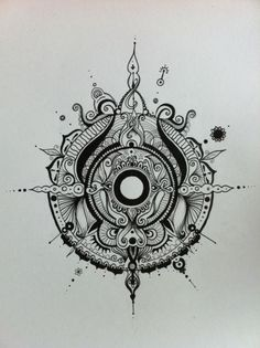 BomFunk- Zentangle wonder - the same but different, as a compass