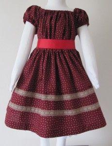 #04-001 burgundy cotton girls dress.