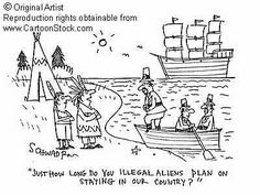This pin switches the present with the past, as it shows the Native Americans telling the colonists what we tell illegal aliens nowadays.