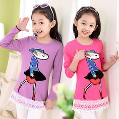 Cheap clothing drawer, Buy Quality clothing promoter directly from China clothing guangzhou Suppliers: Children's New Girls Primer Kids Sweater Pure Korean Lace Top Long Sleeved T-shirt Clothing
