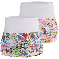 """She'll have lots of luck winning her match if she wears the Lucky in Love Girl's Scallop Tennis Skort! The skort has a wide comfortable waistband, a fun print on the scallops and a high performance fabric. Always a built-in short underneath for total confidence on the court! Skirt length is 10"""" for small size, with a small increase in length for each size."""