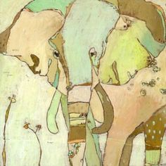 Trumpette Elephant Canvas Print by Jennifer Mercede 14X14. $69.00, via Etsy.