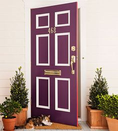 Have the coolest house on the block -- and guarantee that the pizza guy will never miss your place again -- with these easy front door paint makeovers. Purple Front Doors, Painted Front Doors, Front Door Colors, Front Door Decor, Home Improvement Projects, Home Projects, Painted Interior Doors, Front Door Makeover, Door Paint Colors