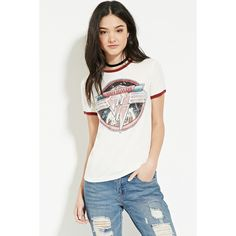 Forever 21 Women's  Van Halen Graphic Tee ($15) ❤ liked on Polyvore featuring tops, t-shirts, short sleeve graphic tees, graphic design tees, forever 21 t shirts, short sleeve tops and graphic design t shirts