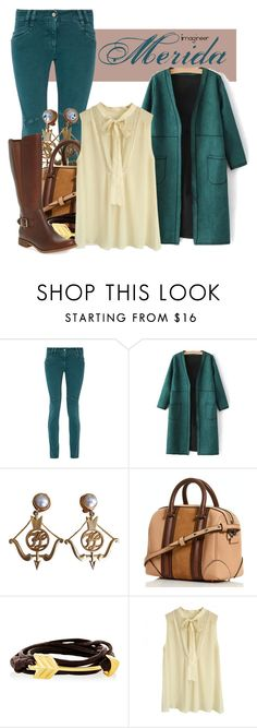 """""""Merida (Brave)"""" by claucrasoda ❤ liked on Polyvore featuring Just Cavalli, Karl Lagerfeld, Catherine Canino Jewelry, By Malene Birger, Timberland and coolcoat"""