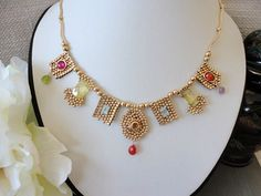 14k gold filled necklace . statement beaded by VeroniquesJewelry