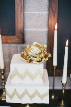 gold chevron wedding cake by Cupcakes Couture of Manhattan Beach