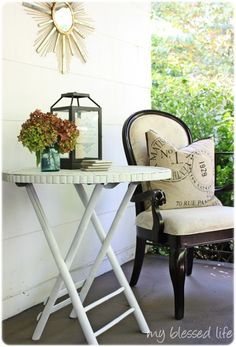 Bamboo Porch Table Makeover (just saw this pillow..should have bought it)