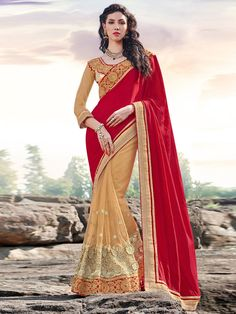 Beige Net Saree with Embroidery Work #bandbaajaa.com #bandbaajaa #weddingsarees #weddingsaris #bridalsarees #bridalsaris #designersarees #designersaris #sarees #saris #weddingwear #weddingshopping
