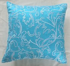 turquoise blue pillow with white by Comfyheavenpillows on Etsy, $32.50