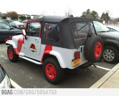 The car owner must be a big fan of Jurassic Park. omg I want this