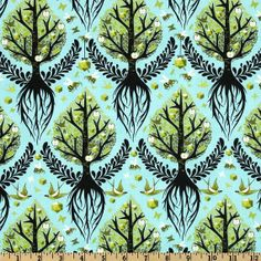 RARE LAMINATED cotton fabric - Tree of Life pool yardage blue Birds and Bees (aka oilcloth, coated vinyl fabric) Tula Pink - WIDE bpa free Fabric Tree, Cork Fabric, Fabric Birds, Vinyl Fabric, Laminated Cotton Fabric, Tula Pink Fabric, Free Spirit Fabrics, Birds And The Bees, Fabric Remnants
